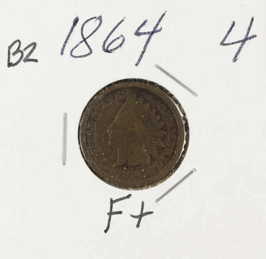 1864 - BRONZE INDIAN HEAD CENT - F+