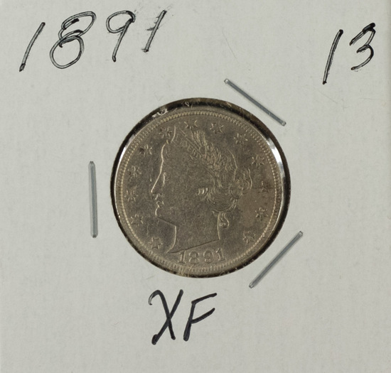 "1891 - Liberty Head ""V"" Nickel - XF"
