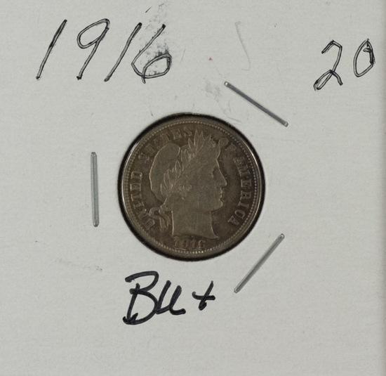 1916 - Barber Dime - BU
