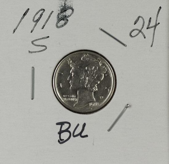 1918 S - Mercury Dime - BU