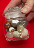 16 Agate Marbles in Jar