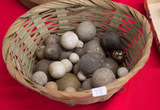 Basket of 32 Assorted Stone Marbles