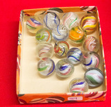 Box of 16 Small Swirl Marbles