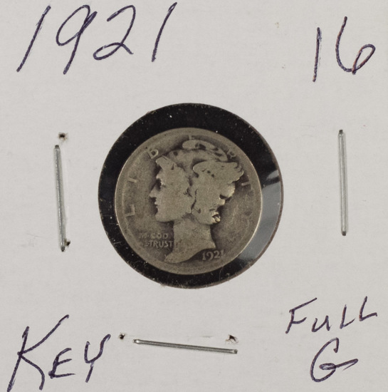 1921 - Mercuru Dime - Full Good - Key