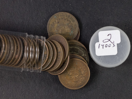 1 - Roll (50 Coins) Indian Head Cents
