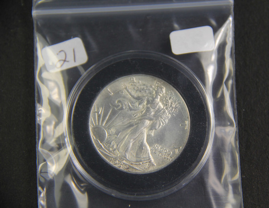 1939  - Liberty Walking Half Dollar - AU