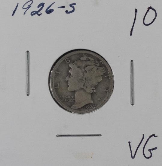 1926 S - MERCURY DIME - VG