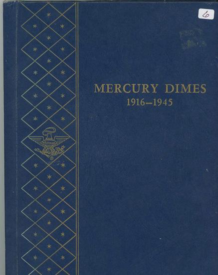 PARTIAL SET OF MERCURY DIMES - 58 COINS IN WHITMAN BOOKSHELF ALBUM