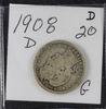 LOT OF 4 BARBER QUARTERS 1905 -G, 1906 O -G, 1907 O - VG, 1908 D - G