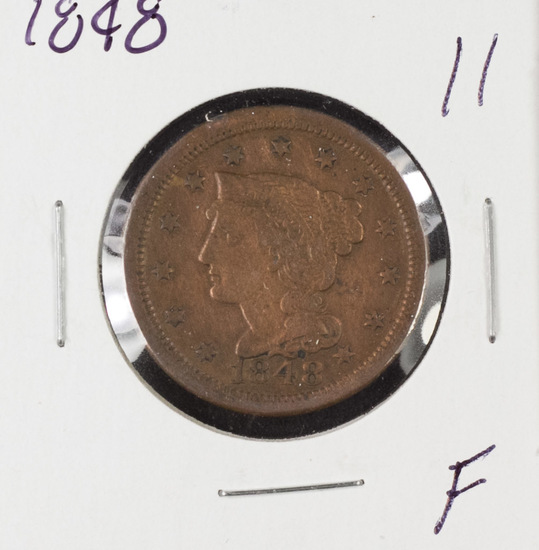 1848 BRAIDED HAIR LARGE CENT - F