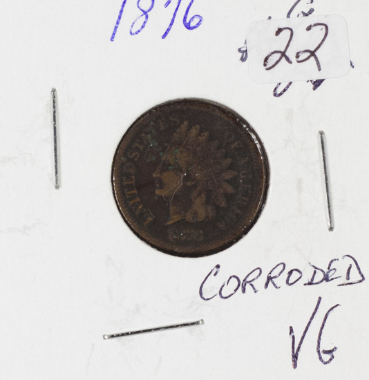 1876 INDIAN HEAD CENT - VG - CORRODED