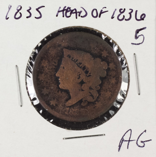 1835 MATRON HEAD LARGE GENT - AG (HEAD OF 1836)