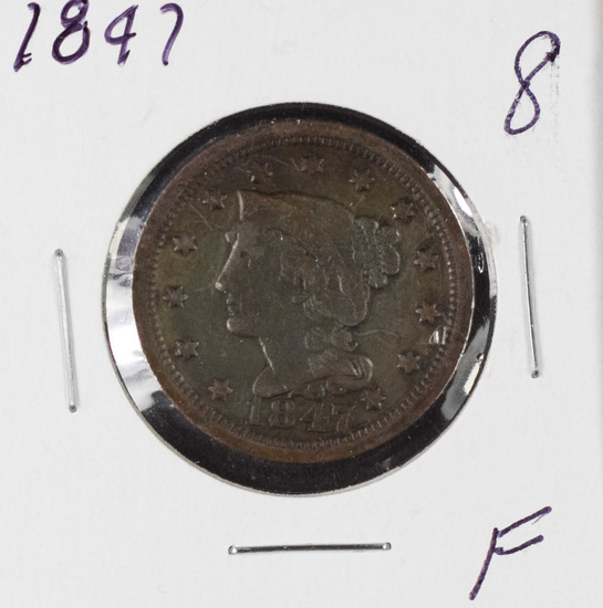 1847 BRAIDED HAIR LARGE CENT - F