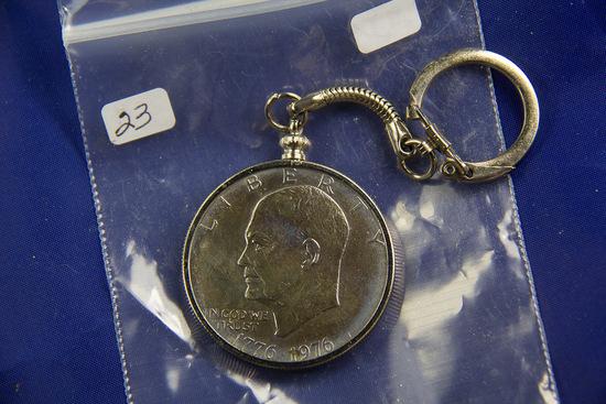 1976 - EISENHOWER DOLLAR IN BEZEL KEY CHAIN