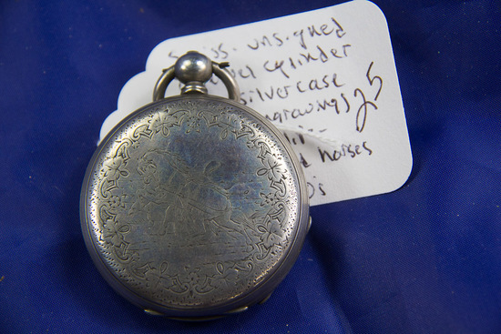 SWISS - UNSIGNED 8 JEWEL CYCLINDER SWISS SILVER CASE WITH ENGRAVING OF SWISS LIFE
