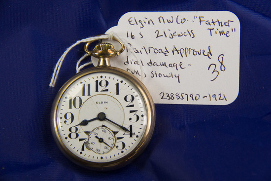 "ELGIN - ""FATHER TIME"" 16 SIZE 21 JEWEL RAILROAD APPROVED - SLIGHT DIAL"