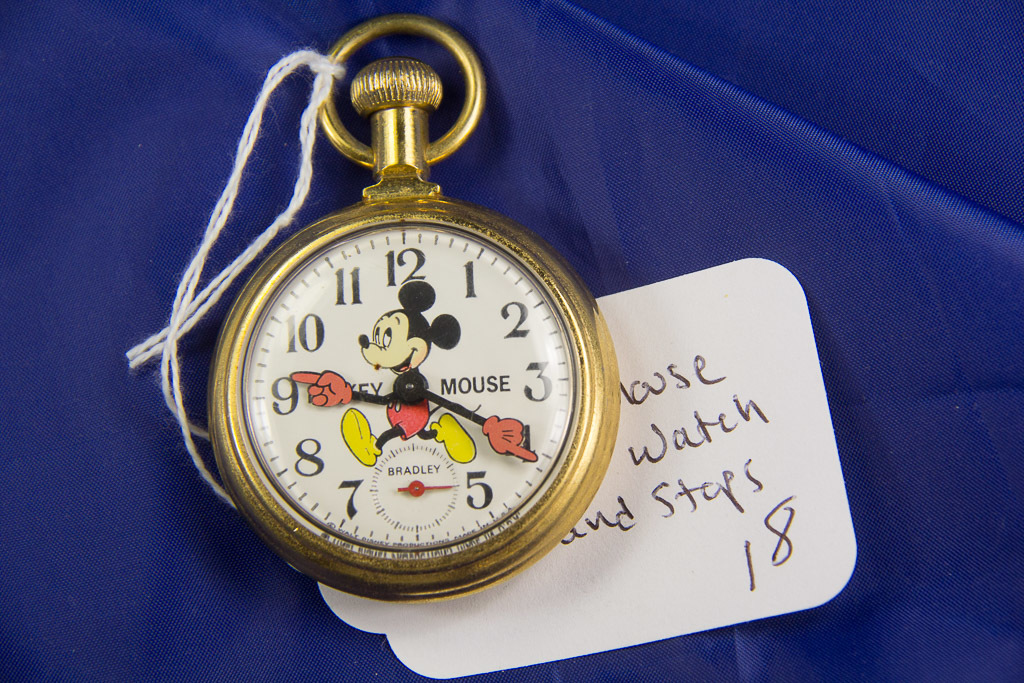 """BRADLEY """"MICKEY MOUSE""""  DOLLAR POCKET WATCH WITH CHAIN - RUNS AND STOPS"""