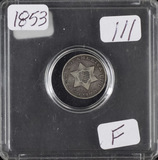1853 - SILVER THREE CENT PIECE (TRIME) - F