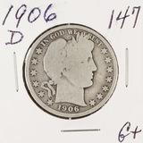 1906-D BARBER HALF DOLLAR - G+