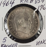1964 DENMARK 5 KRONER - KM #854 SILVER - UNC