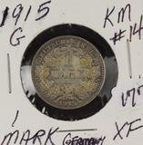 1915-G GERMANY 1-MARK KM#14 - LOW MINTAGE MINT