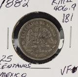 1882 - MEXICO 25 CENTAVOS KM #406.9 - VF SILVER