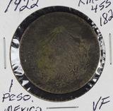 1922 - MEXICO 1 PSO KM #455 - VF - SILVER -DARK