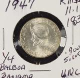 1947 PANAMA 1/4 BALBOA KM #11.1.900 SILVER - UNC