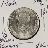 1962 - PANAMA 1/2 BALBOA KM #12.1.900 SILVER -UNC
