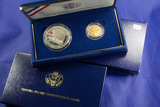 1987 - US CONSTITUTION PROOF SILVER DOLLAR - $5.00 PROOF GOLD - W MINT