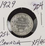 1929 CANADA QUARTER - XF/AU