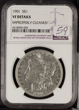 1901 - NGC VF DETAILS EMPROPERLY CLEANED MORGAN DOLLAR
