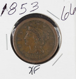1853 - BRAIDED HAIR LARGE CENT - XF