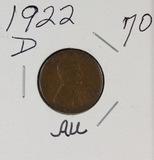 1922-D LINCOLN CENT - AU