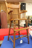 Antique Press Back Wood Childs Chair