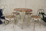 Childs Heart Back Metal Table and 4 Chairs,