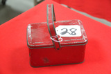 Antique Red Metal Lunch Box