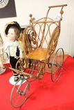 Antique Metal Wheel Doll Stroller, Wood and