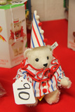German Steiff Clown Red White Blue Bear