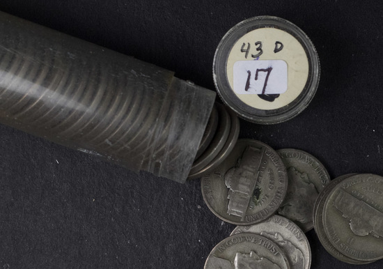 1 - ROLL 1943-D WWII SILVER JEFFERSON NICKELS - (40 COINS)