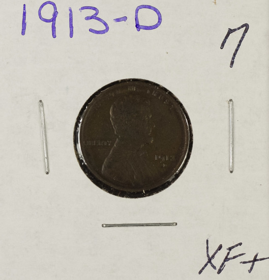 1913-D LINCOLN CENT - XF+
