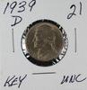 1939-D JEFFERSON NICKEL - UNC -KEY