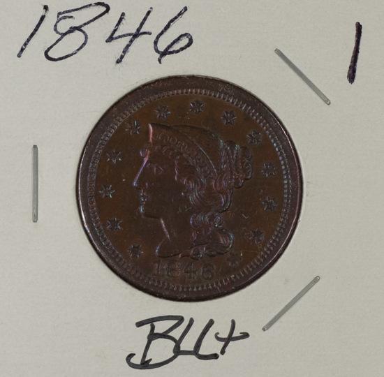 1846 - BRAIDED HAIE LARGE CENT - BU