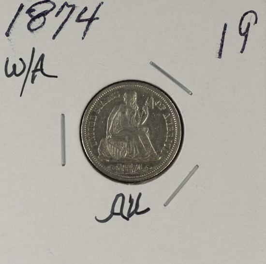 1874 - LIBERTY SEATED DIME - AU