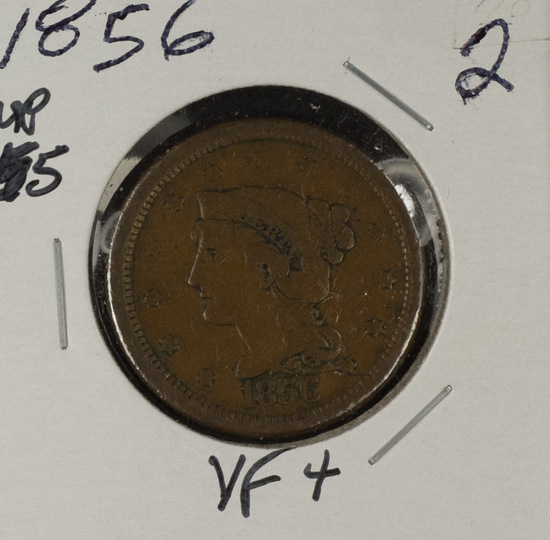 1856 - UPRIGHT 5 BRAIDED HAIR LARGE CENT - VF+