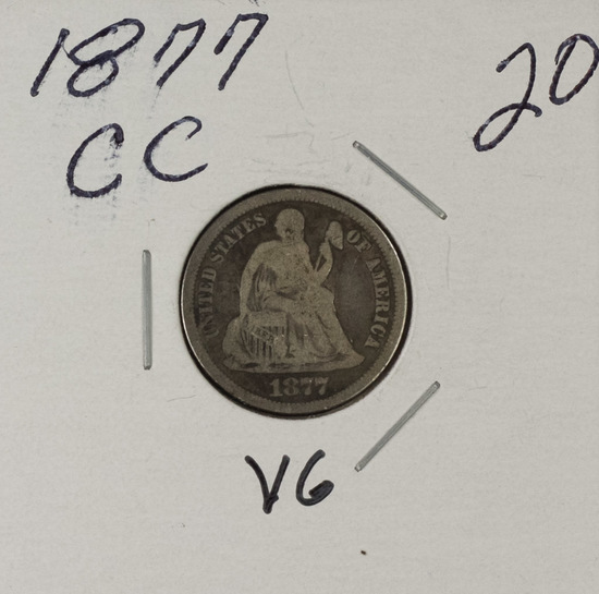 1877 -CC LIBERTY SEATED DIME - VG