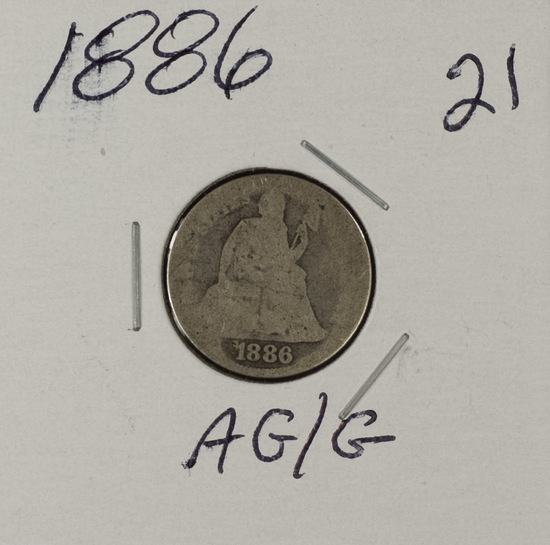 1886 - LIBERTY SEATED DIME - AG/G