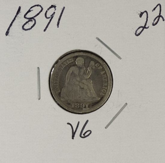 1891 - LIBERTY SEATED DIME - VG