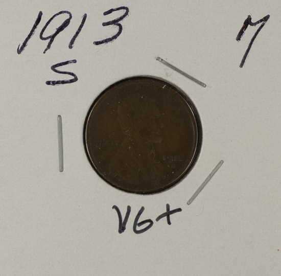 1913-S LINCOLN CENT - VG