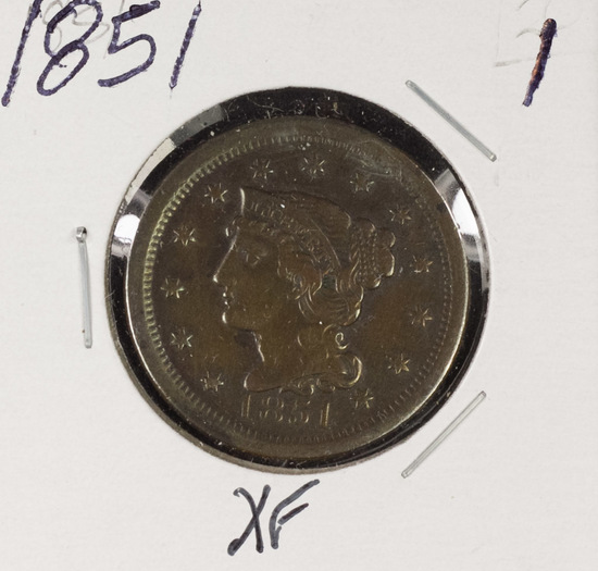 1851 - BRAIDED HAIR LARGE CENT - XF